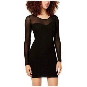 Material Girl Bodycon Dress Mesh Black Long Sleeve
